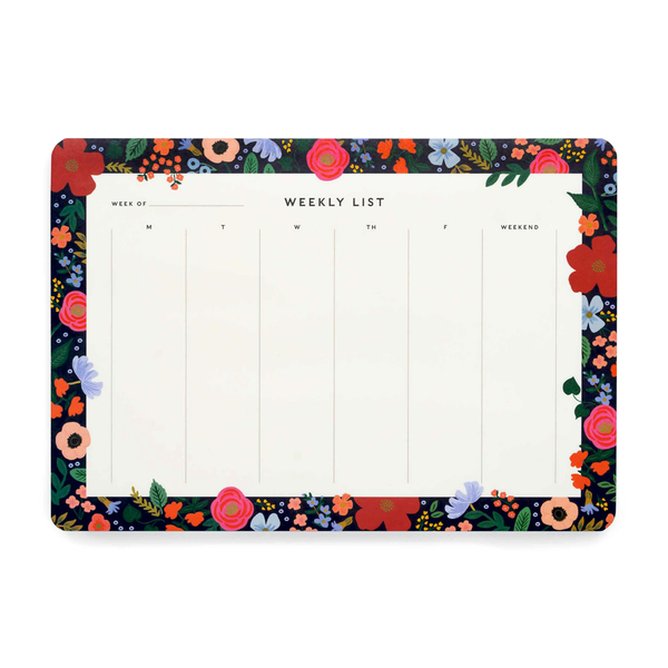 Rifle Paper Co Weekly Desk Pad Wild Rose