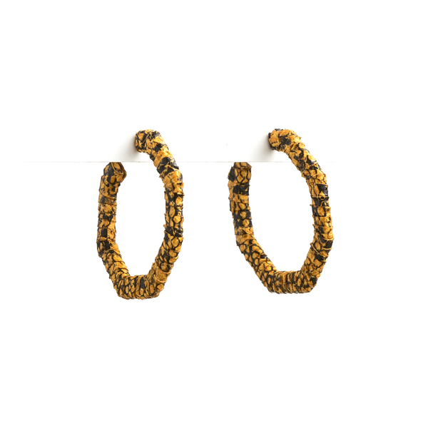 Stella + Gemma Earrings Snake Pattern Mustard
