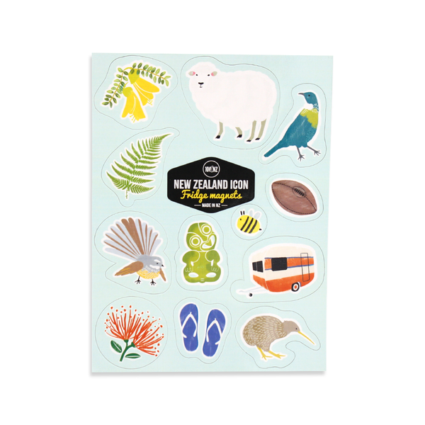100% NZ New Zealand Icons Magnet Set
