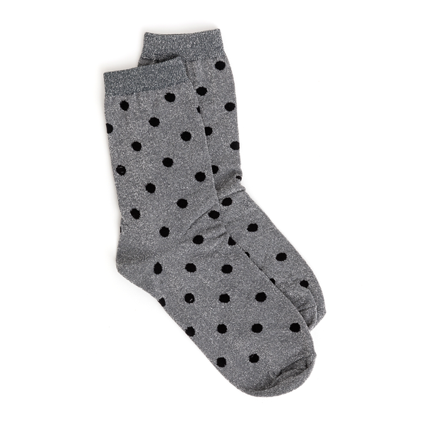 Stella + Gemma Socks Metallic Silver with Black Spots