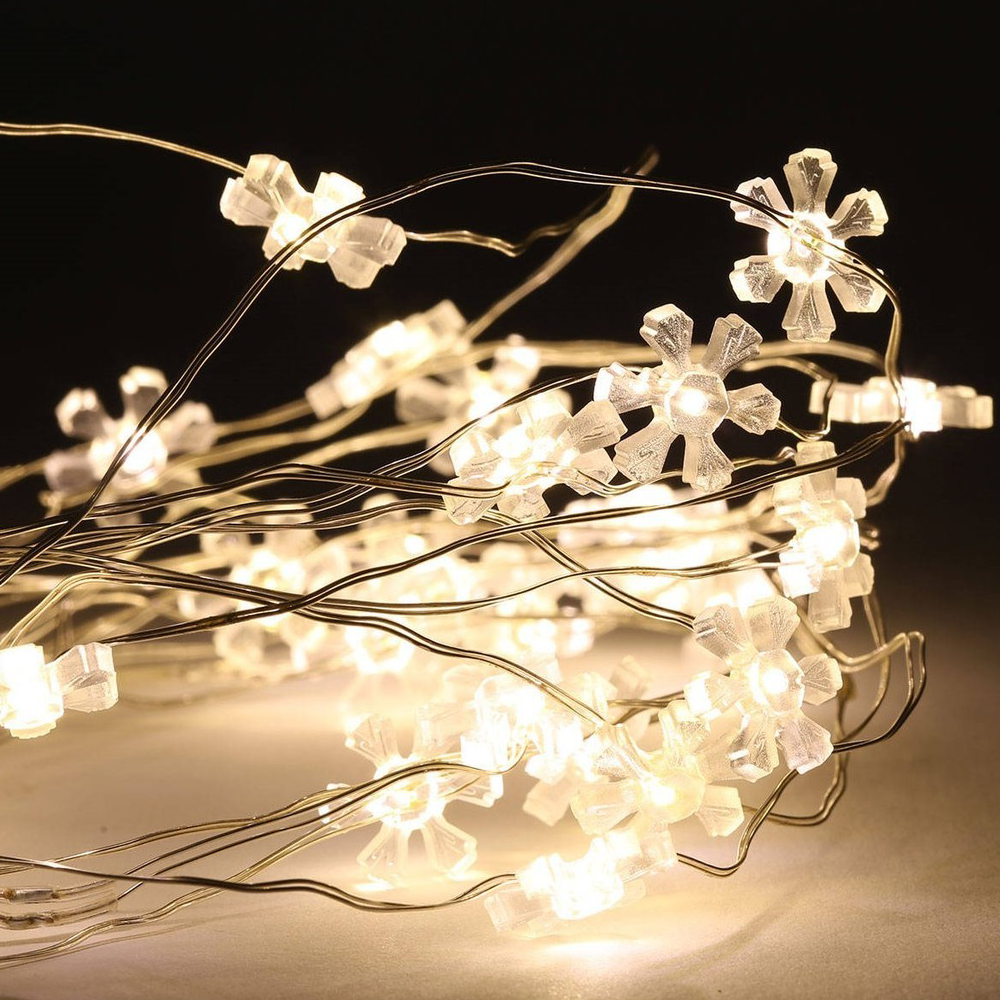 LED Wire Flower Light String 2m Warm White