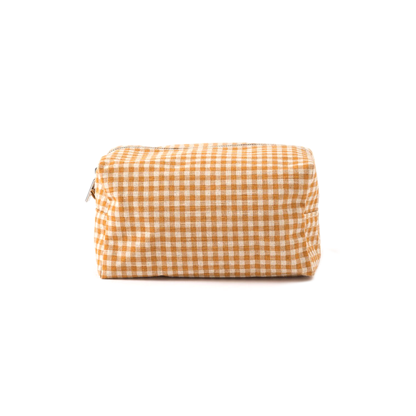 Citta Gingham Wash Bag Pumpkin Dijon Large
