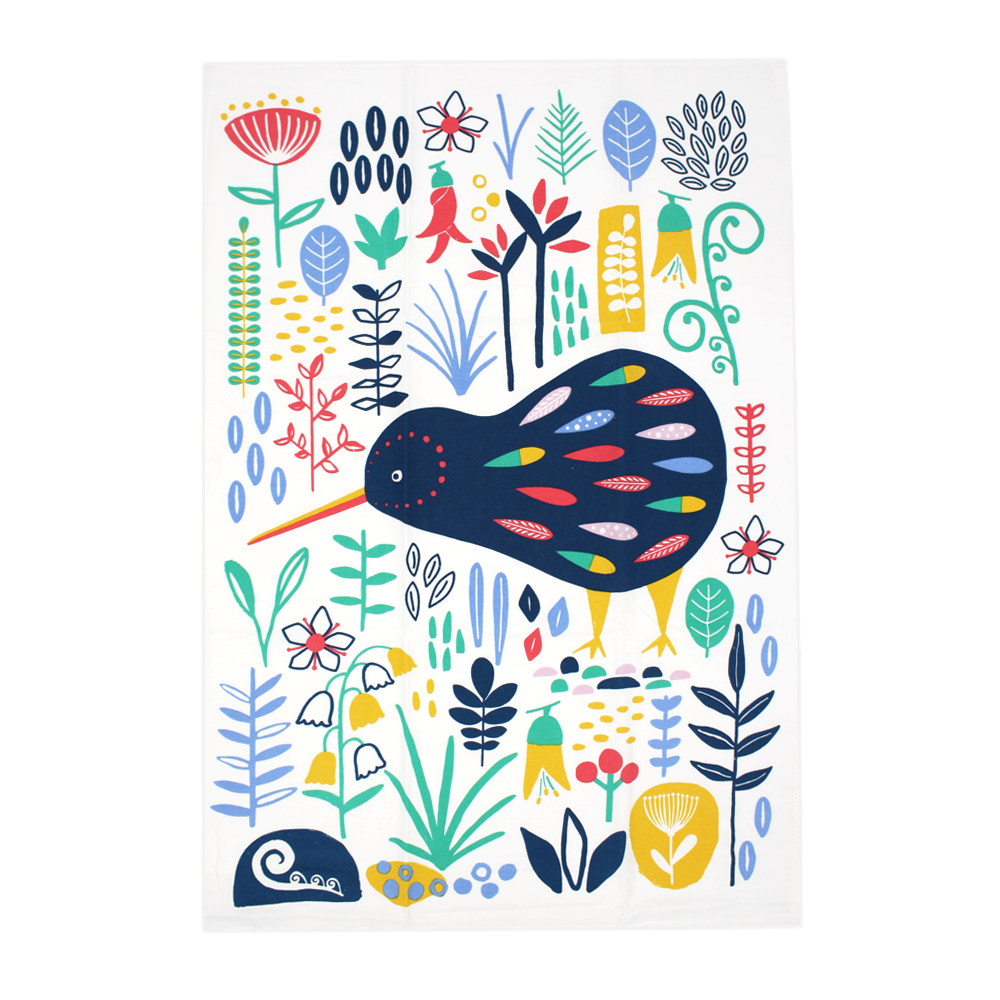 New Zealand Tea Towel Kiwi Colourful