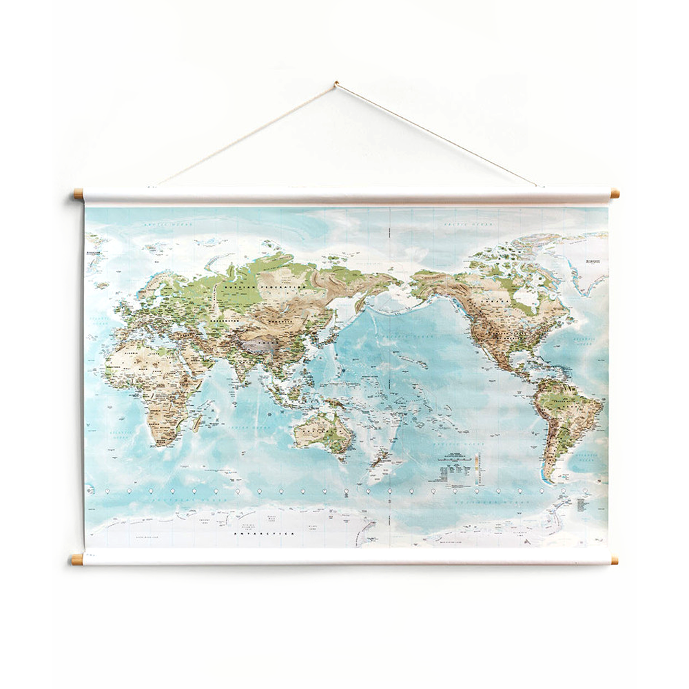 Milligram Canvas World Map Large