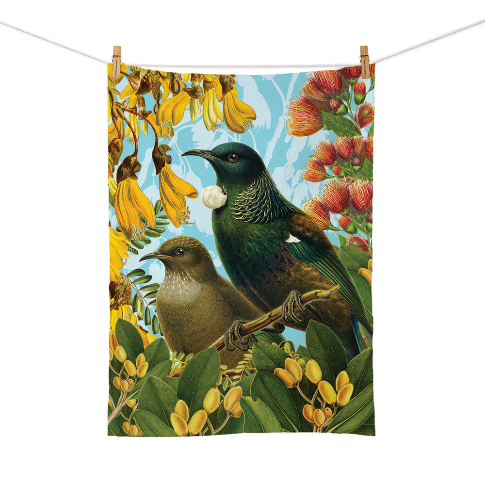 New Zealand Retro Tea Towel Botanical Tui's