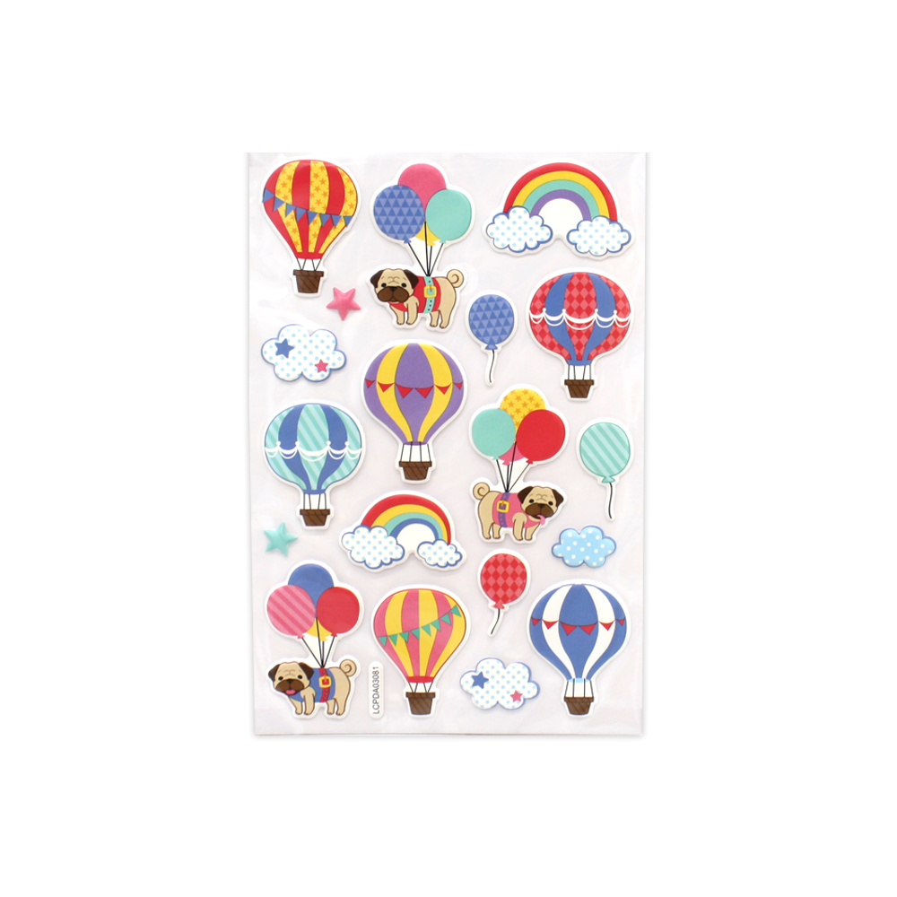 Pugs in Balloons Puff Stickers