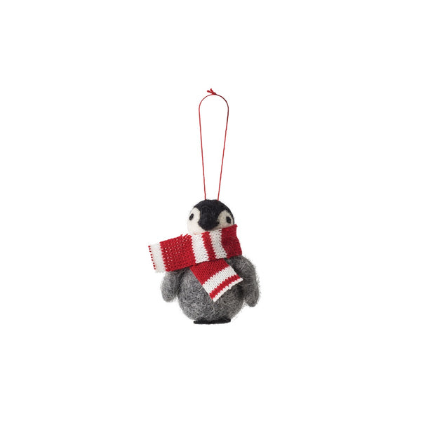Citta Woollen Penguin Hanging Decoration Grey Red White Striped Scarf