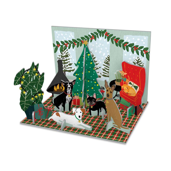 Roger La Borde Pop and Slot Christmas Fireside Dogs