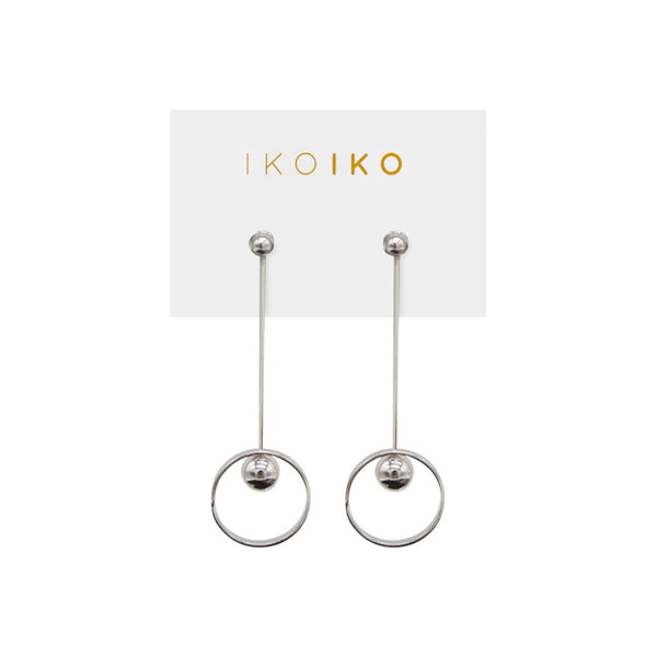 Iko Iko Studs Long Bar with Ring and Ball Silver