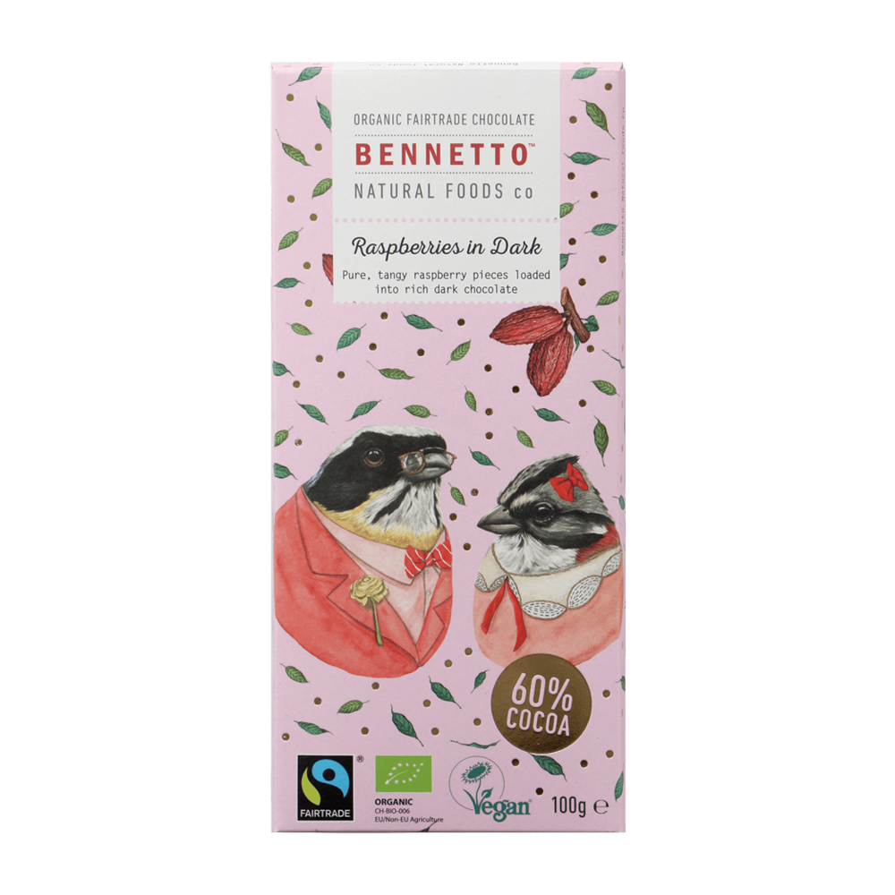Bennetto Chocolate Raspberries in Dark 100g