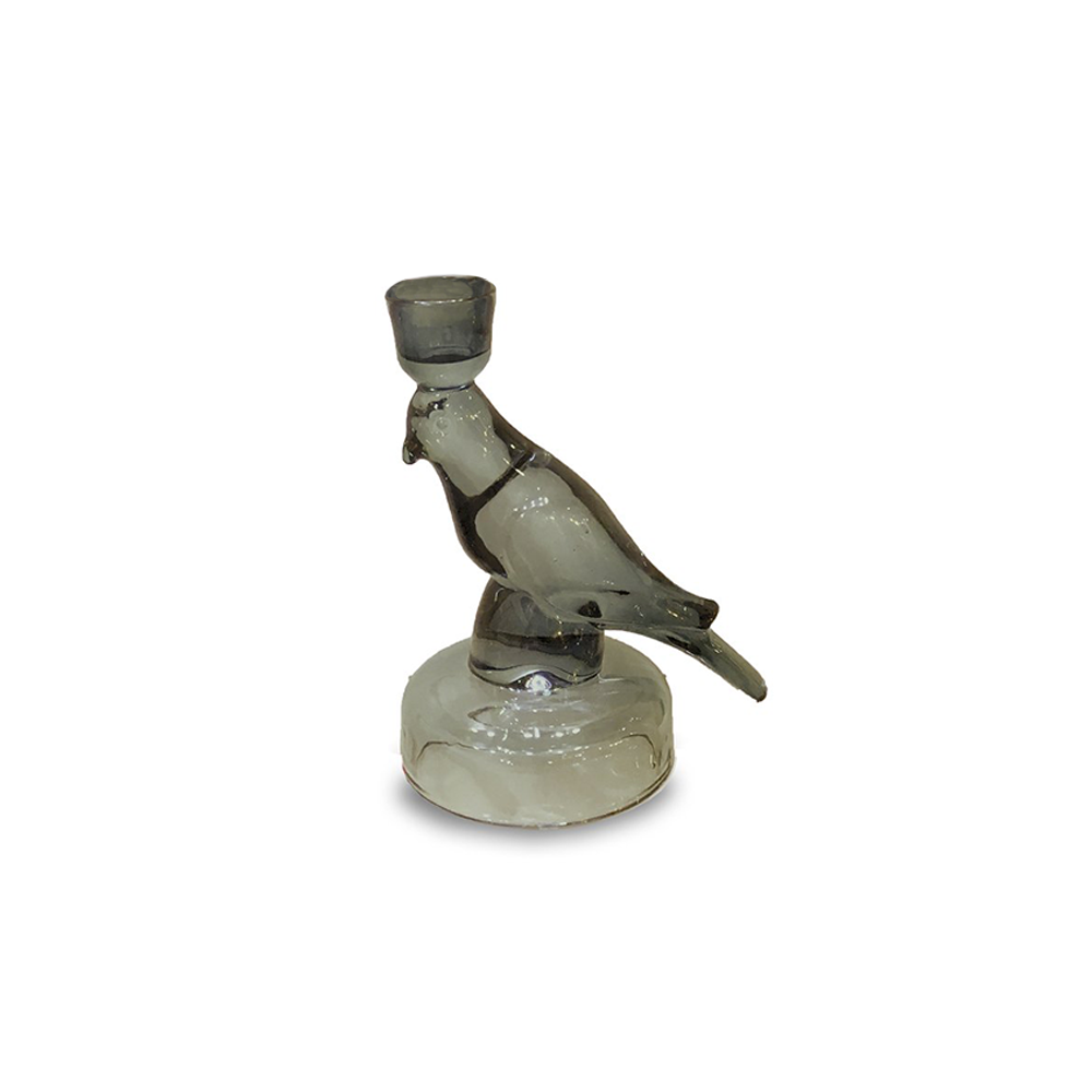 Nel Lusso Glass Jungle Bird Candleholder Charcoal