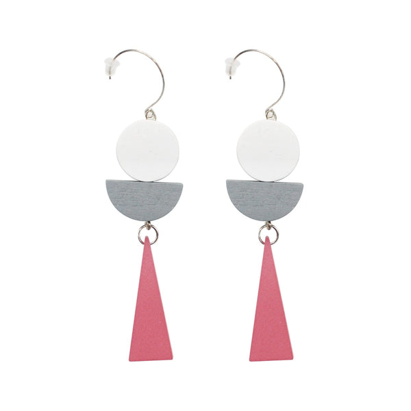 Penny Foggo Earrings Wooden Triangle Shapes Pink