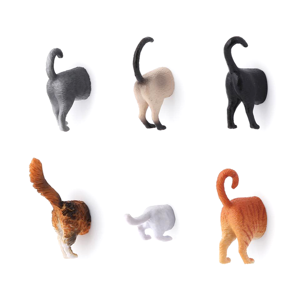 Kikkerland Cat Butt Magnets Pack of 6