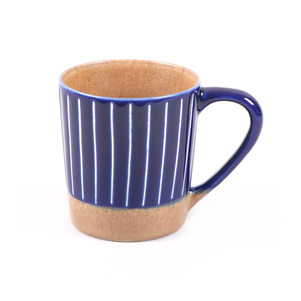 Ceramic Mug Stripe Blue White Terracotta