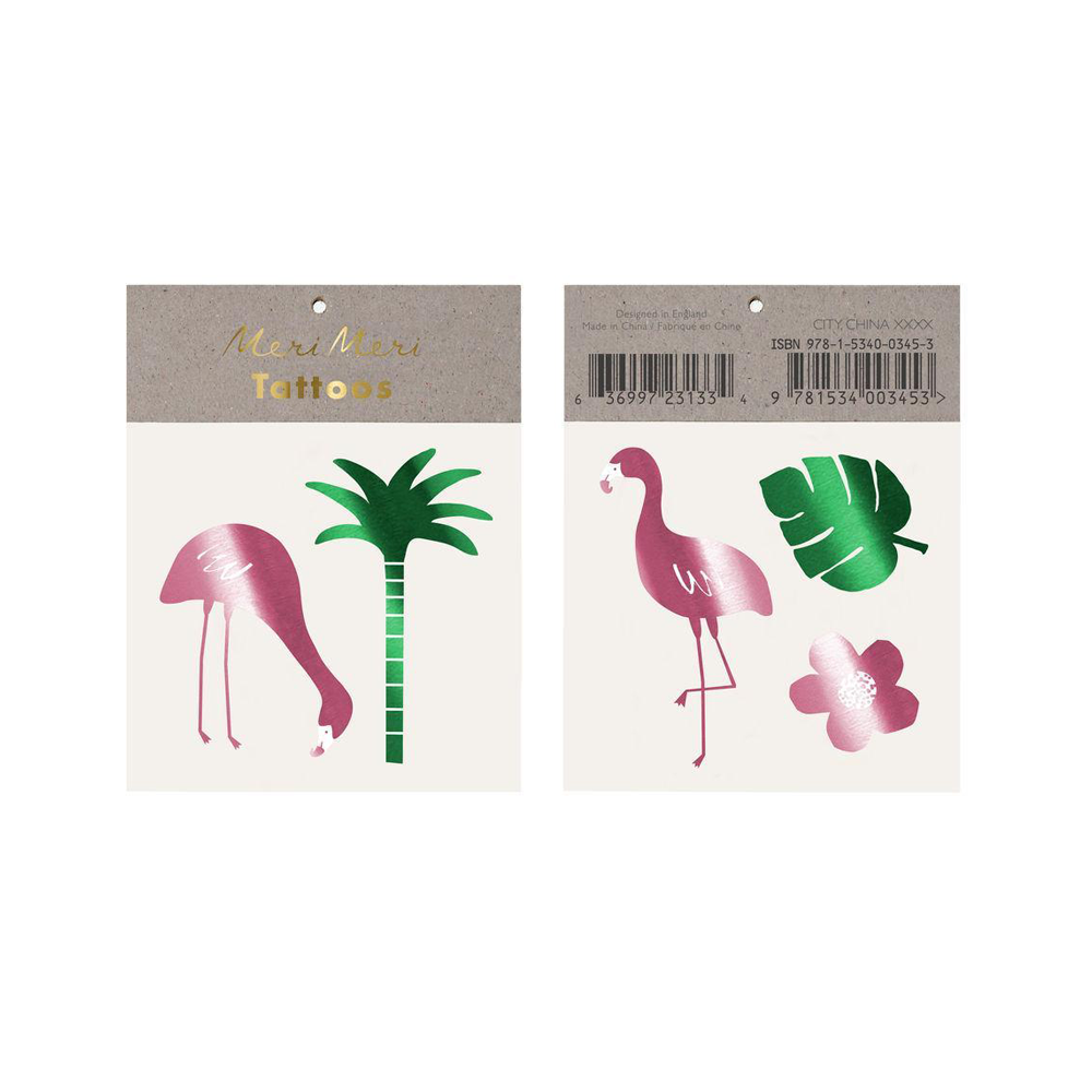 Meri Meri Tattoos Tropical Flamingo