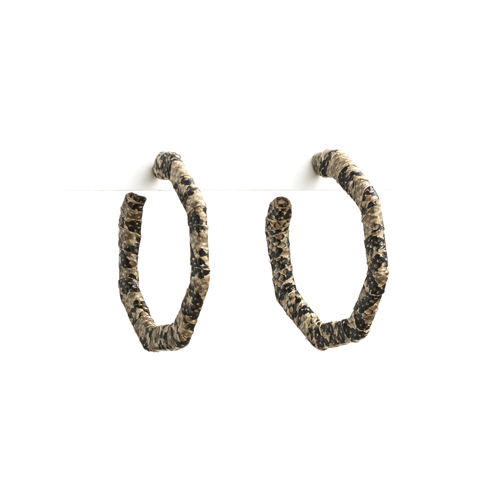 Stella + Gemma Earrings Snake Pattern Grey