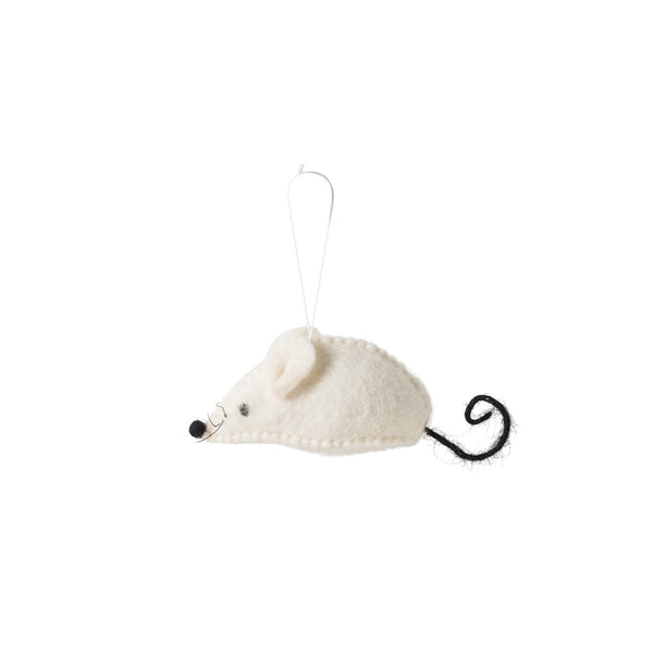 Citta Woollen Mouse Hanging Decoration White