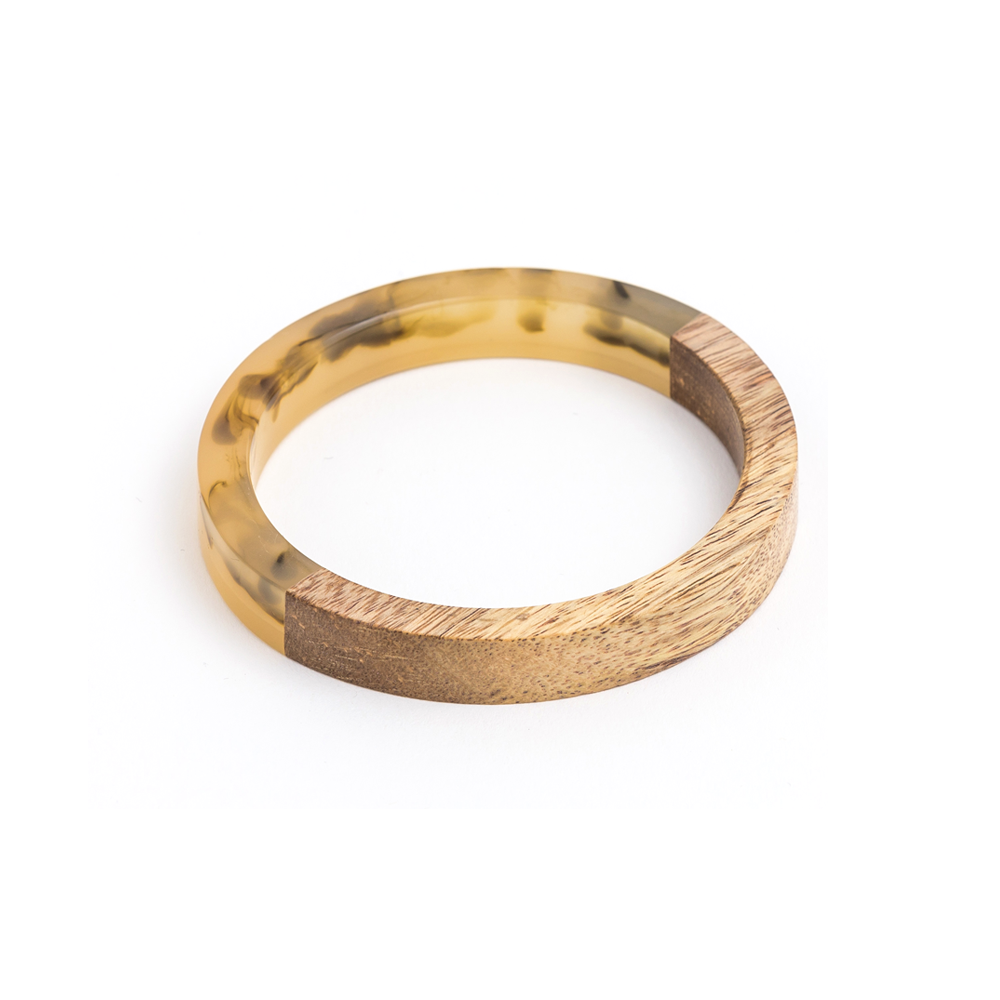 Stella + Gemma Bangle Wood Dreamy Brown Resin