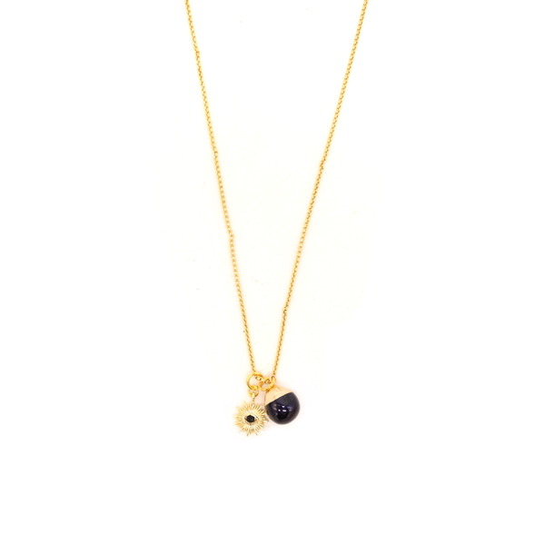 Penny Foggo Necklace Starburst and Black Pearl Gold