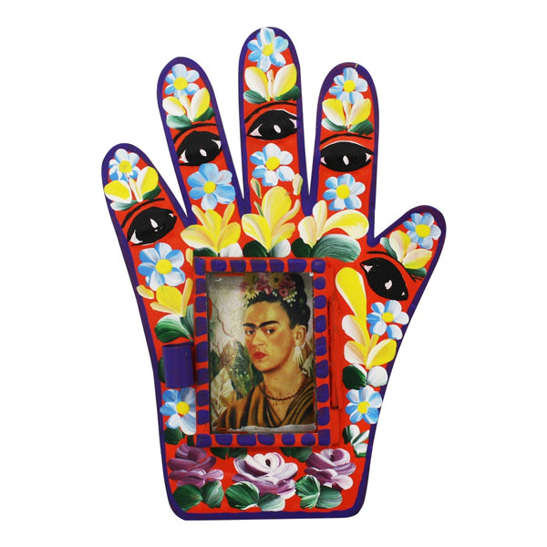 Mexican Tin Nicho Hand with Window Frida
