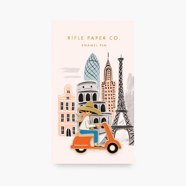Rifle Paper Co Enamel Pin Scooter Girl