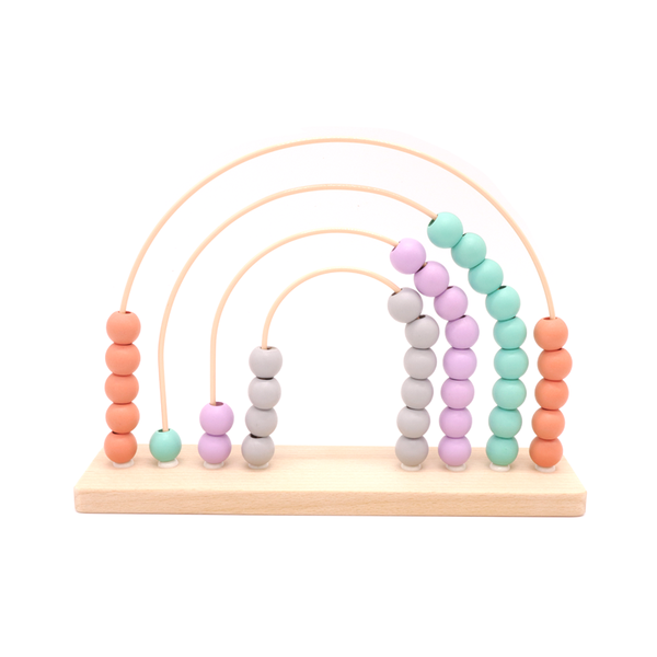 Wooden Abacus Rainbow Pink and Blue