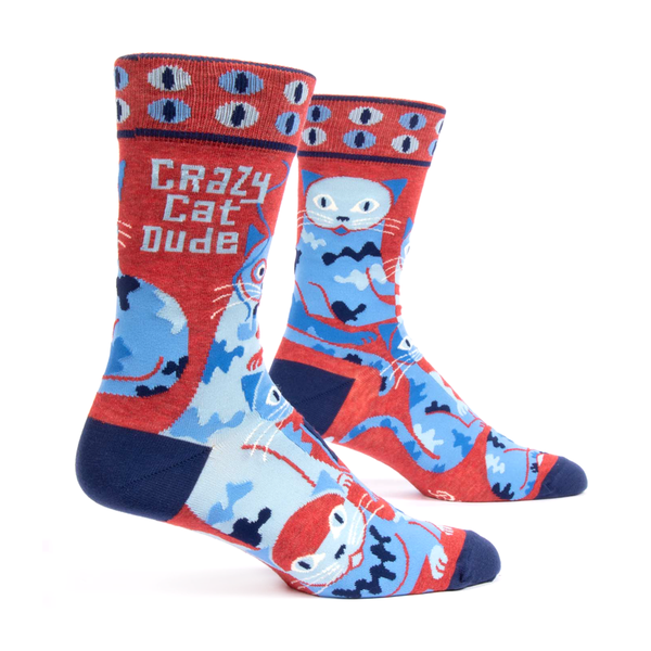 Blue Q Men's Socks Crazy Cat Dude