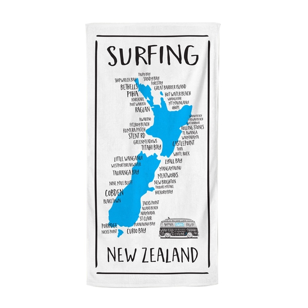 Moana Road Beach Towel Surfing NZ Map