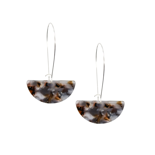 Penny Foggo Earrings Tortoiseshell Semi Circle Clear Brown