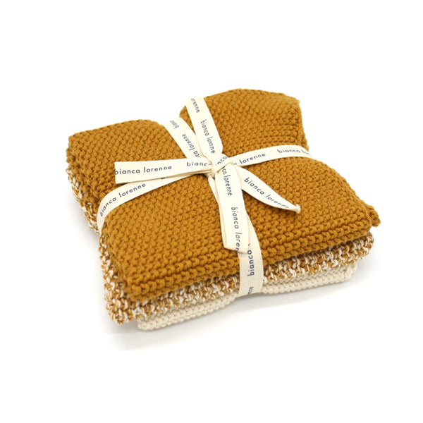 Bianca Lorenne Washers Lavette Set of 3 Ochre