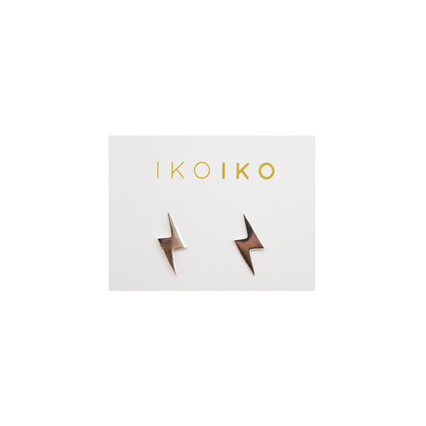 Iko Iko Studs Small Lightling Bolts Silver
