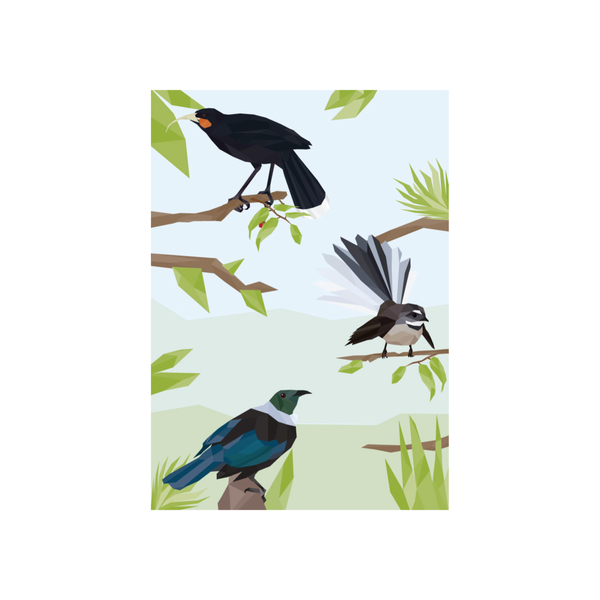 Iko Iko Geo Bird Card Three Birds