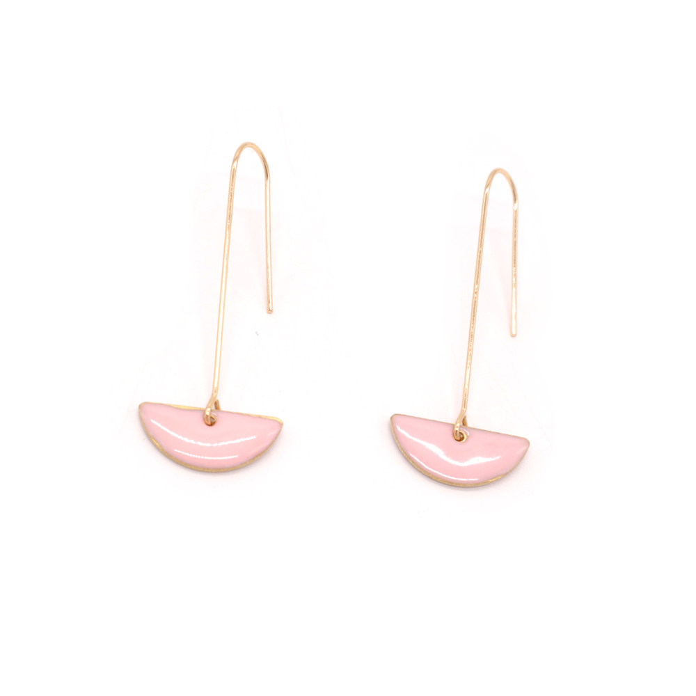 Penny Foggo Earrings Enamel Semicircle Drops Pink