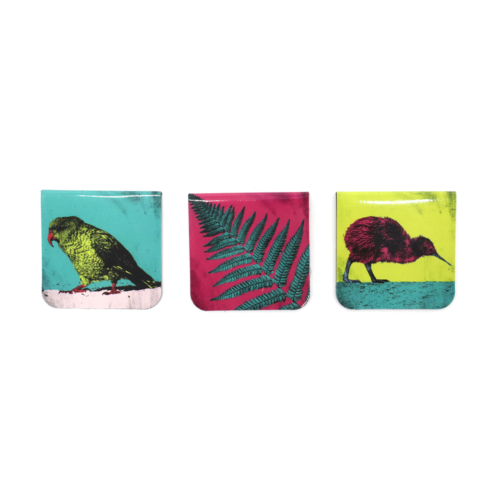 NZ Magnetic Bookmarks Set of Three Birds & Fern