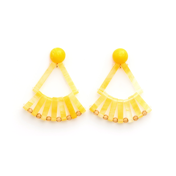 Stella + Gemma Earrings Resin Fans Sunshine