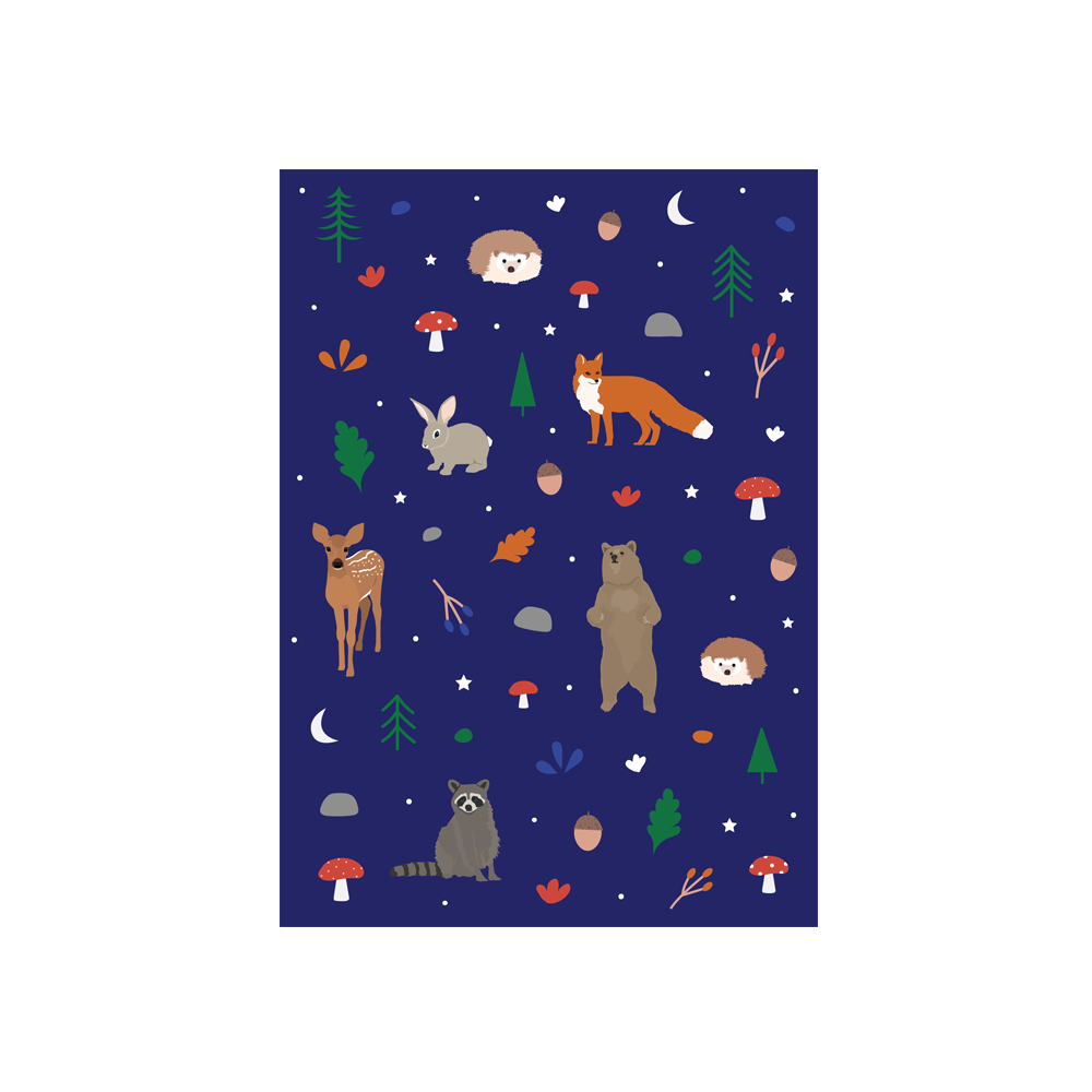 Iko Iko Christmas Card Animal Pattern Woodland Navy
