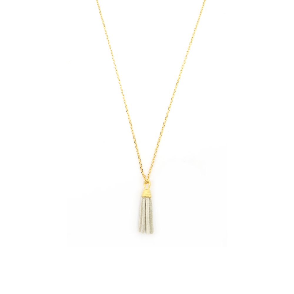 Stella + Gemma Necklace Grey Tassel Gold