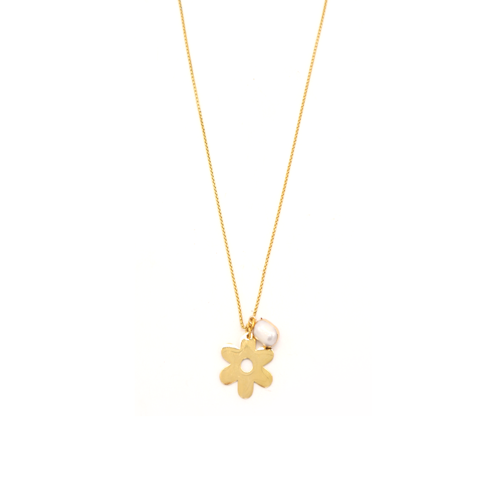 Penny Foggo Necklace Flower and Pearl Gold