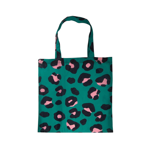 Foldable Shopper Tote Bag Leopard Green