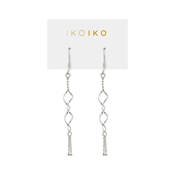 Iko Iko Earrings Twists and Chains Silver