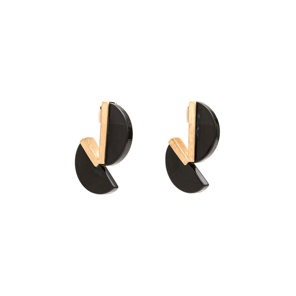 Stella + Gemma Earrings Split Moon Black Onyx