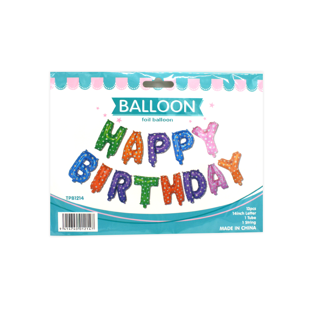 Foil Balloon Banner Happy Birthday Stars and Hearts