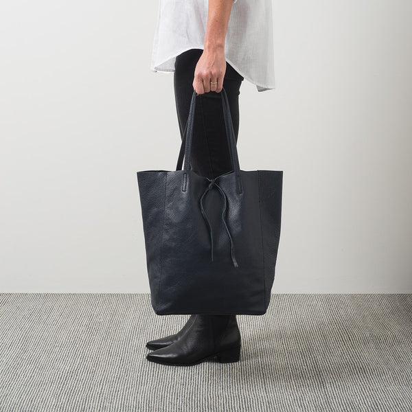 Citta Florence Leather Tote Bag Ink