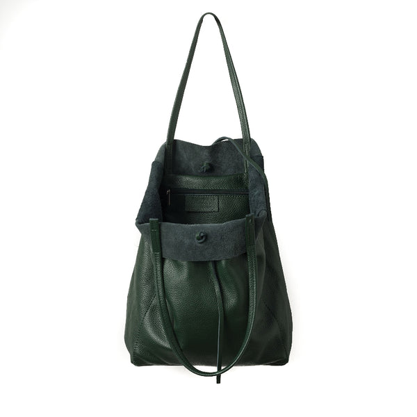 Citta Florence Leather Tote Bag Jungle Green