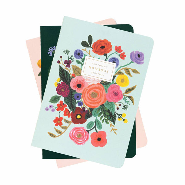 Rifle Paper Co Pack of 3 Stitched Notebooks Ruled Large Garden Party