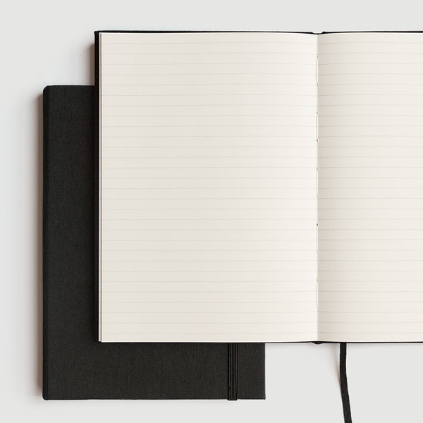 Milligram Linen A5 Notebook Ruled Black