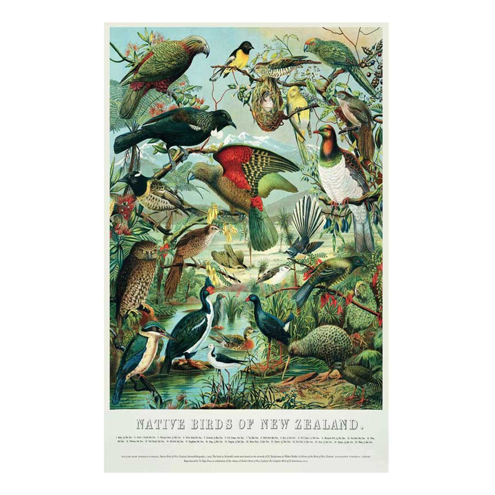 100% NZ Retro Native Birds 300 Piece Jigsaw Puzzle