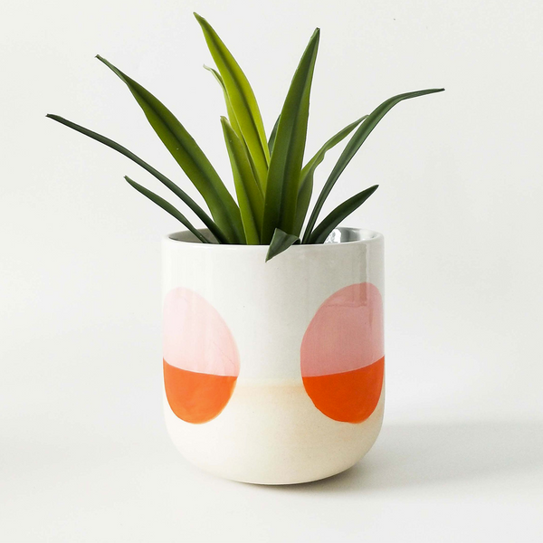Skyla Circle Planter Orange White
