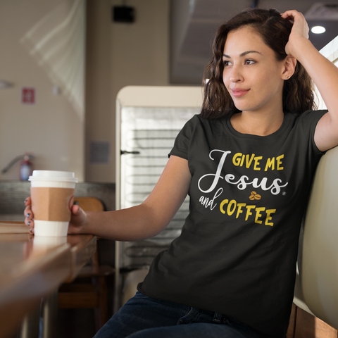 Give Me Jesus and Coffee - Womens Cotton T-Shirt