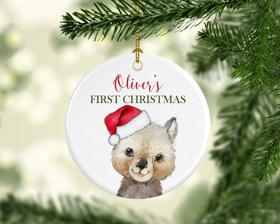 Personalised Ceramic Christmas Ornament Wombat Australian Animal